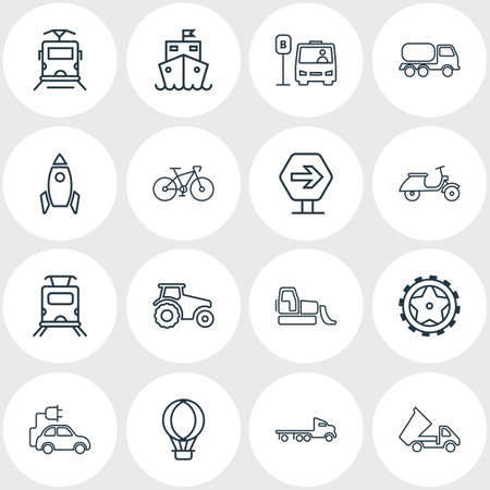 Vector illustration of 16 transport icons line style. Editable set of eco car, space vehicle, flatbed truck and other icon elements. Ilustração