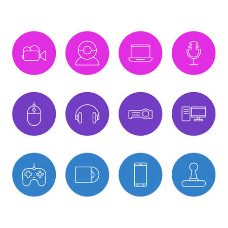 illustration of 12 hardware icons line style. Editable set of headphones, laptop, joystick and other icon elements.