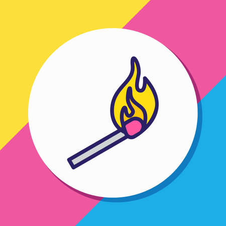 illustration of match icon colored line. Beautiful necessity element also can be used as matchstick icon element.