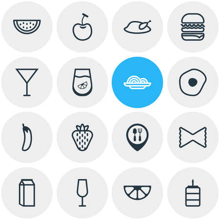 Vector illustration of 16 food icons line style. Editable set of cherry, pasta, eggplant and other icon elements.