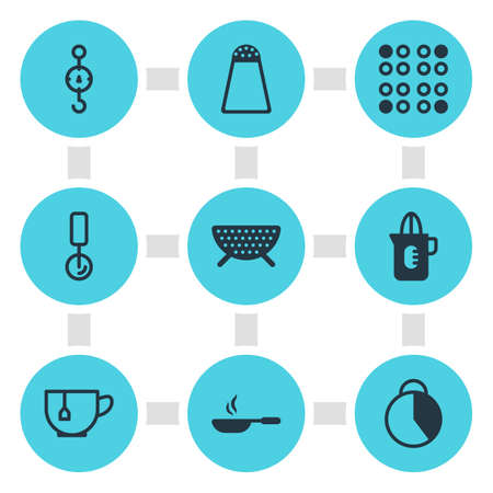 Vector illustration of 9 kitchenware icons. Editable set of colander, stopwatch, tea cup icon elements.