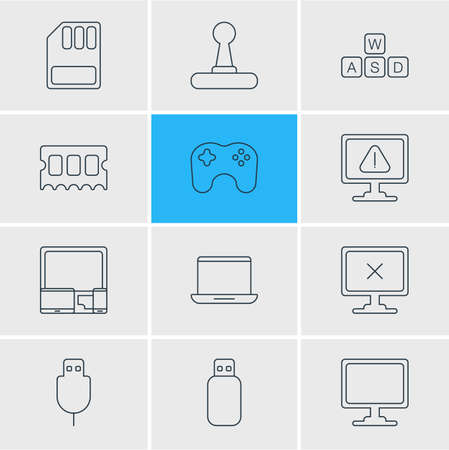 illustration of 12 laptop icons line style. Editable set of gaming keypad, ram, sd card and other icon elements. Imagens