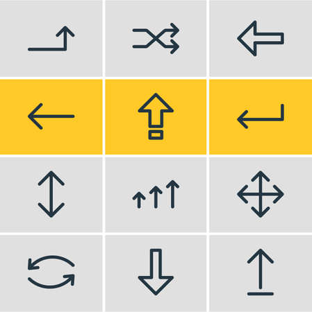 Vector illustration of 12 sign icons line style. Editable set of up-down, turn, caps lock and other icon elements.