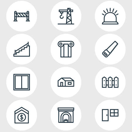 Vector illustration of 12 industry icons line style. Editable set of door with window, fence, security and other icon elements.