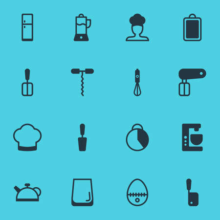 illustration of 16 restaurant icons. Editable set of spatula, corkscrew, stopwatch and other icon elements. Imagens