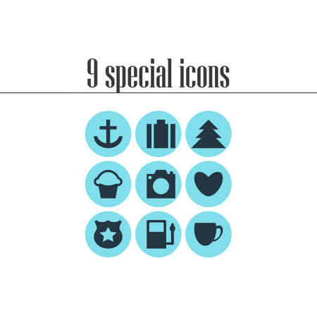 illustration of 9 map icons. Editable set of gas station, portfolio, love and other icon elements.