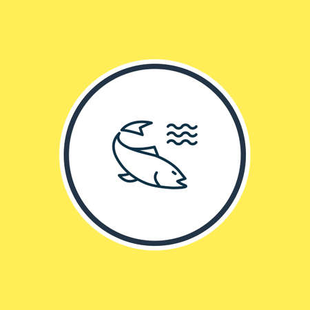 Vector illustration of salmon icon line. Beautiful maritime element also can be used as perch icon element.