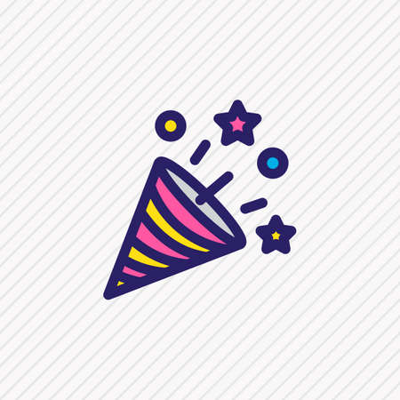 Vector illustration of fireworks icon colored line. Beautiful party element also can be used as firecracker icon element.