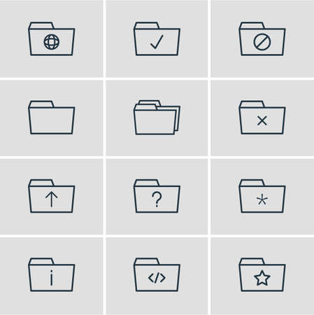 Vector illustration of 12 folder icons line style. Editable set of upload, important, starred and other icon elements.