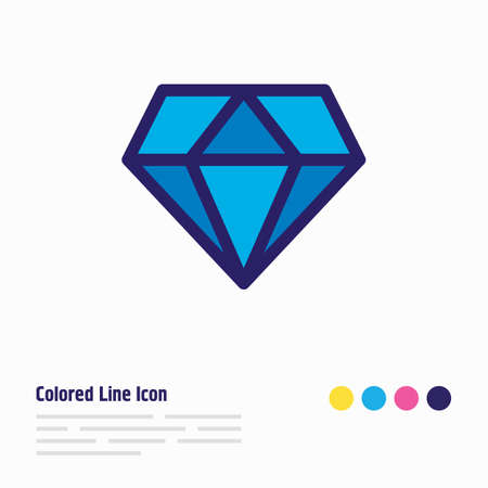 Vector illustration of diamond icon colored line. Beautiful holiday element also can be used as brilliant icon element.