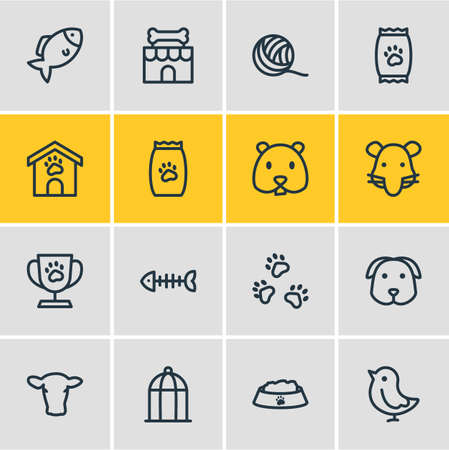 Vector illustration of 16 zoo icons line style. Editable set of fish bone, pet shop, kibble and other icon elements.