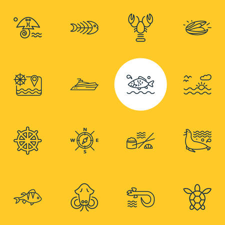 Vector illustration of 16 naval icons line style. Editable set of sunset in the sea, fish bone, lobster and other icon elements.