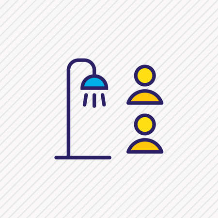 Vector illustration of shared bathroom icon colored line. Beautiful tourism element also can be used as shower icon element.