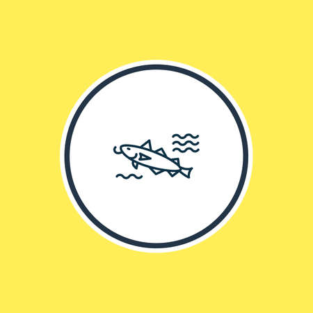Vector illustration of cod fish icon line. Beautiful nautical element also can be used as catfish icon element. Stock Illustratie