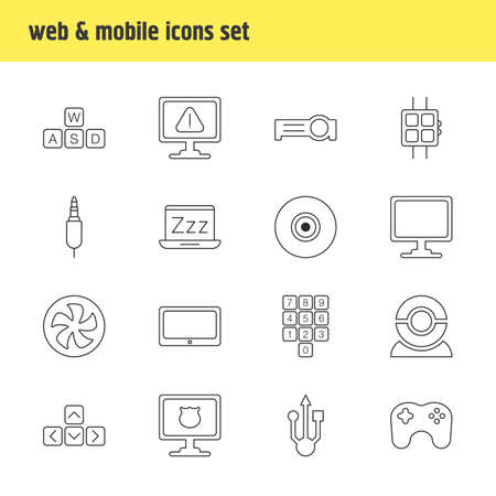 illustration of 16 computer icons line style. Editable set of sleep mode, universal serial bus, smartphone and other icon elements.