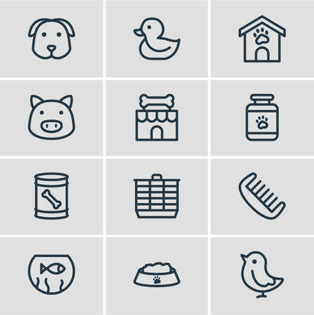 illustration of 12 fauna icons line style. Editable set of duck, kennel, fishbowl and other icon elements. Standard-Bild