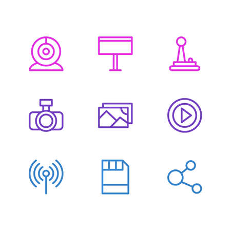Vector illustration of 9 media icons line style. Editable set of photo apparatus, video, webcam and other icon elements. Illustration