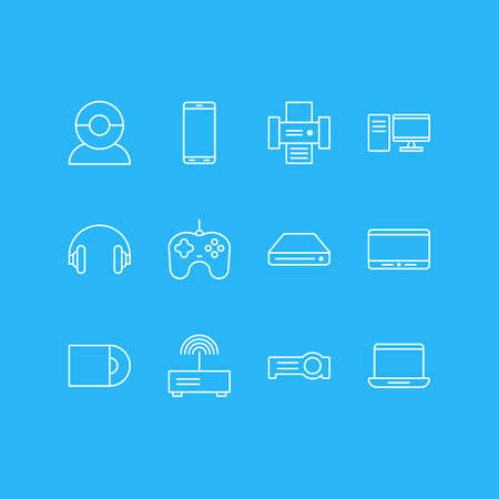 illustration of 12 device icons line style. Editable set of tablet phone, router, cd-rom and other icon elements.