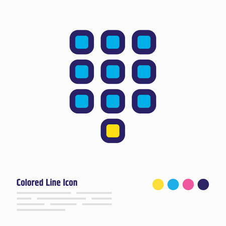 illustration of buttons icon colored line. Beautiful contact element also can be used as numpad icon element.