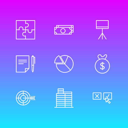 Vector illustration of 9 trade icons line style. Editable set of contract, target, pie and other icon elements.