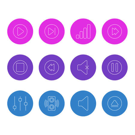 illustration of 12 music icons line style. Editable set of backward, eject, next and other icon elements.
