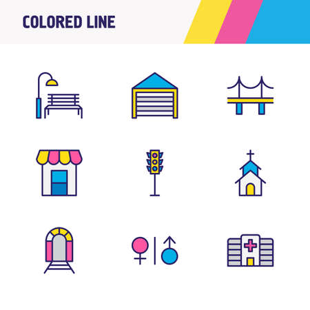 illustration of 9 infrastructure icons colored line. Editable set of wc, traffic light, hospital and other icon elements. Stock Photo