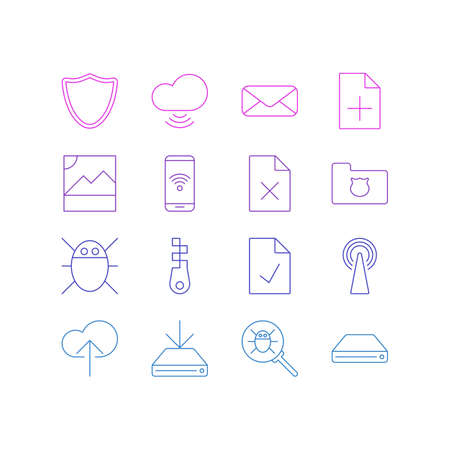 illustration of 16 network icons line style. Editable set of sdd, approved page, data upload and other icon elements. 版權商用圖片