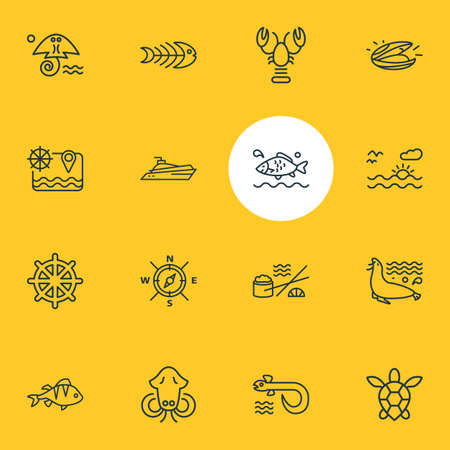 illustration of 16 naval icons line style. Editable set of sunset in the sea, fish bone, lobster and other icon elements. Banco de Imagens