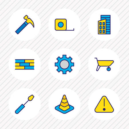 Vector illustration of 9 industry icons colored line. Editable set of screwdriver, brick wall, cone and other icon elements.