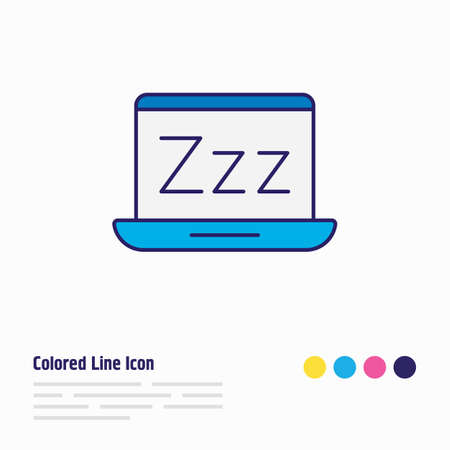 Vector illustration of sleep mode icon colored line. Beautiful notebook element also can be used as laptop icon element.