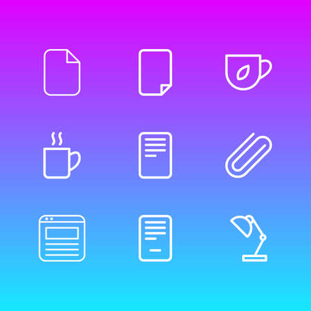 Vector illustration of 9 workplace icons line style. Editable set of file, coffee mug, blank and other icon elements.