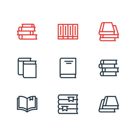 illustration of 9 book reading icons line style. Editable set of read, publish, lecture and other icon elements.