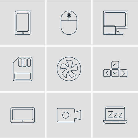 Vector illustration of 9 computer icons line style. Editable set of sleep mode, mouse, smartphone and other icon elements.