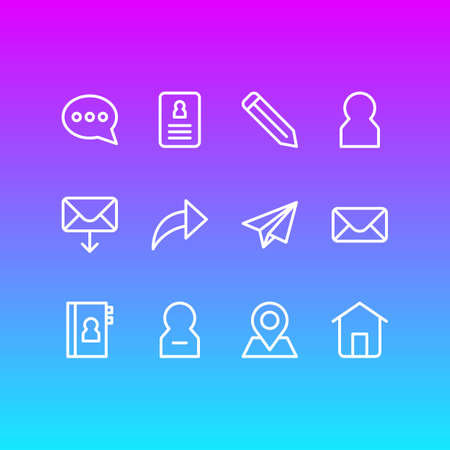 Vector illustration of 12 contact icons line style. Editable set of cv, house, member and other icon elements. Vettoriali