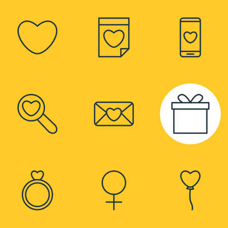 Vector illustration of 9 love icons line style. Editable set of female, phone, mail and other icon elements.