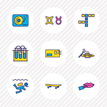 Vector illustration of 9 hobby icons colored line. Editable set of chemistry, djing, diving and other icon elements.