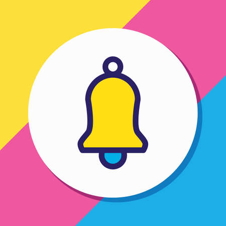 Vector illustration of bell icon colored line. Beautiful annex element also can be used as ringing icon element.