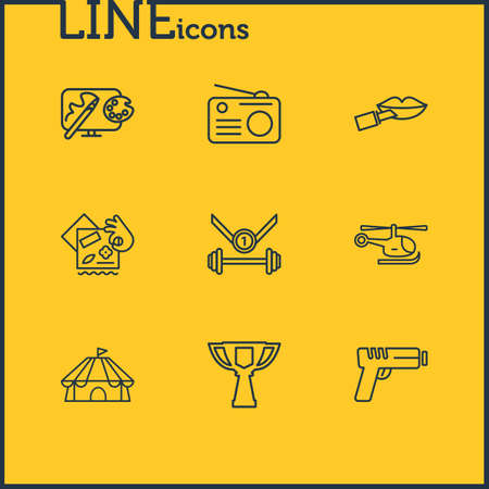 illustration of 9 activities icons line style. Editable set of design, cirque, award cup and other icon elements. Banque d'images