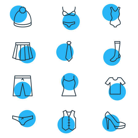 illustration of 12 dress icons line style. Editable set of underwear, beanie, heeled shoe and other icon elements. Foto de archivo