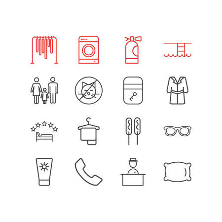 illustration of 16 travel icons line style. Editable set of wardrobe, hanger, pillow and other icon elements.