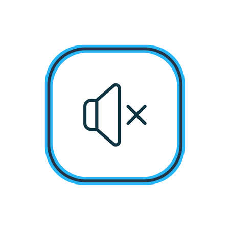 Vector illustration of mute icon line. Beautiful media element also can be used as silence icon element. Çizim