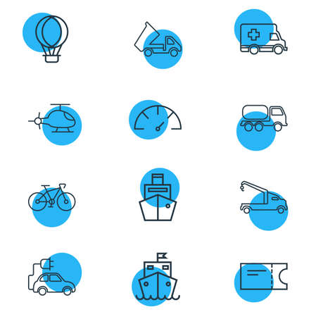 Vector illustration of 12 transport icons line style. Editable set of tank truck, crane truck, cargo ship and other icon elements.