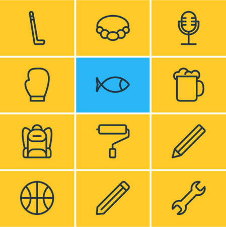 Vector illustration of 12 hobby icons line style. Editable set of backpack, beer, microphone and other icon elements. Banque d'images - 115135466