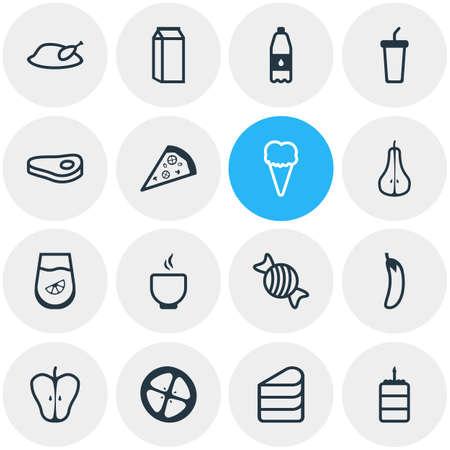 Vector illustration of 16 meal icons line style. Editable set of dairy, tomato slice, pizzeria and other icon elements. Vektoros illusztráció