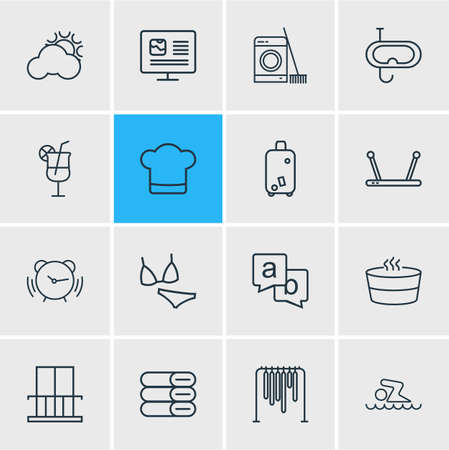 Vector illustration of 16 hotel icons line style. Editable set of bikini, feedback, chef hat and other icon elements.