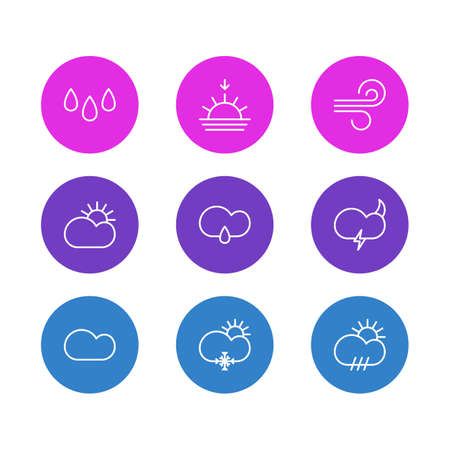 Vector illustration of 9 atmosphere icons line style. Editable set of snow, raindrop, sunlight and other icon elements.