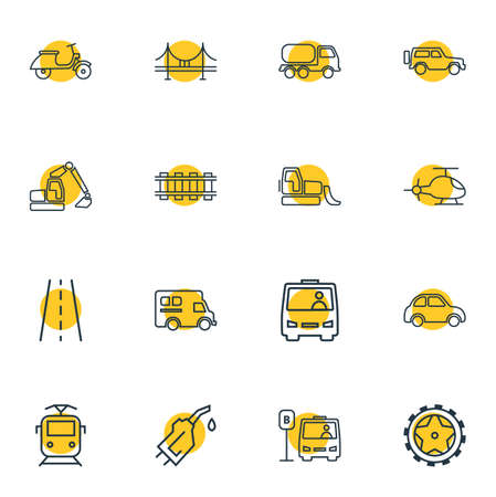 Vector illustration of 16 carrying icons line style. Editable set of gasoline pipe, bridge, railway and other icon elements.