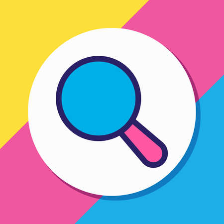Vector illustration of search icon colored line. Beautiful app element also can be used as magnifier icon element. 向量圖像
