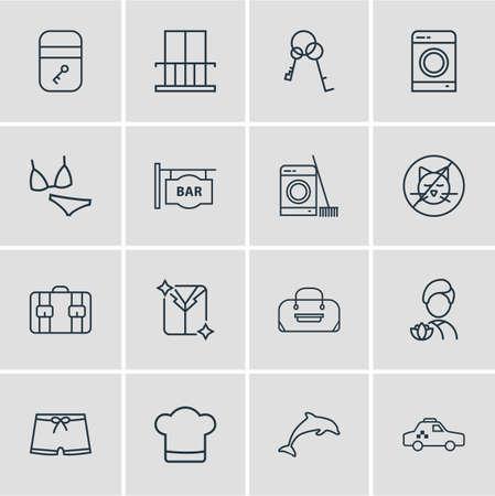 Vector illustration of 16 travel icons line style. Editable set of no animals, washing machine, suitcase and other icon elements. Illustration