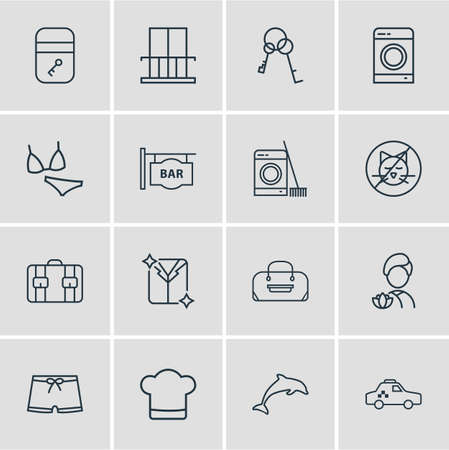 Vector illustration of 16 travel icons line style. Editable set of no animals, washing machine, suitcase and other icon elements. Illustration